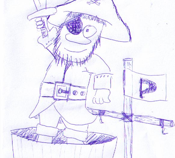 Kämpfender Pirat im Ausguck eines gesunkenen Schiffes