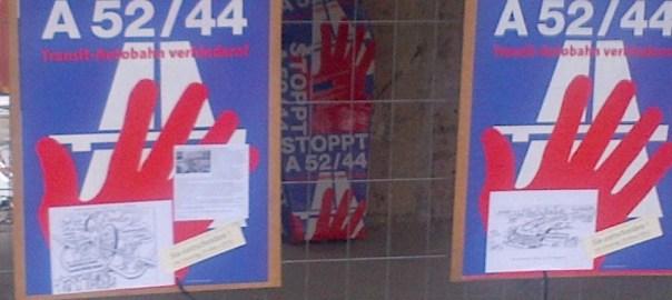 Plakat zum Bürgerentscheid gegen die A52 in Gladebeck