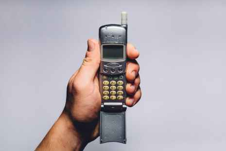 hand old retro phone