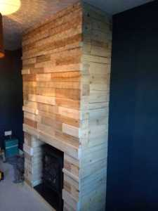 Showing the depth of the wooden pallet fireplace