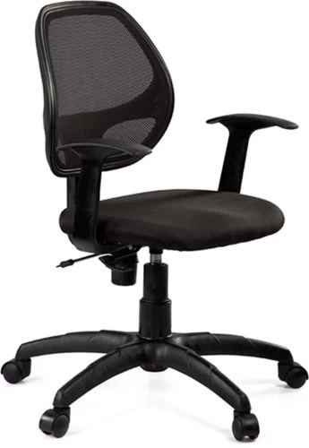 revolving chair mechanism hanging outdoor chairs buy debono vento 7906v medium back with push in black fabric and mesh office at best price india