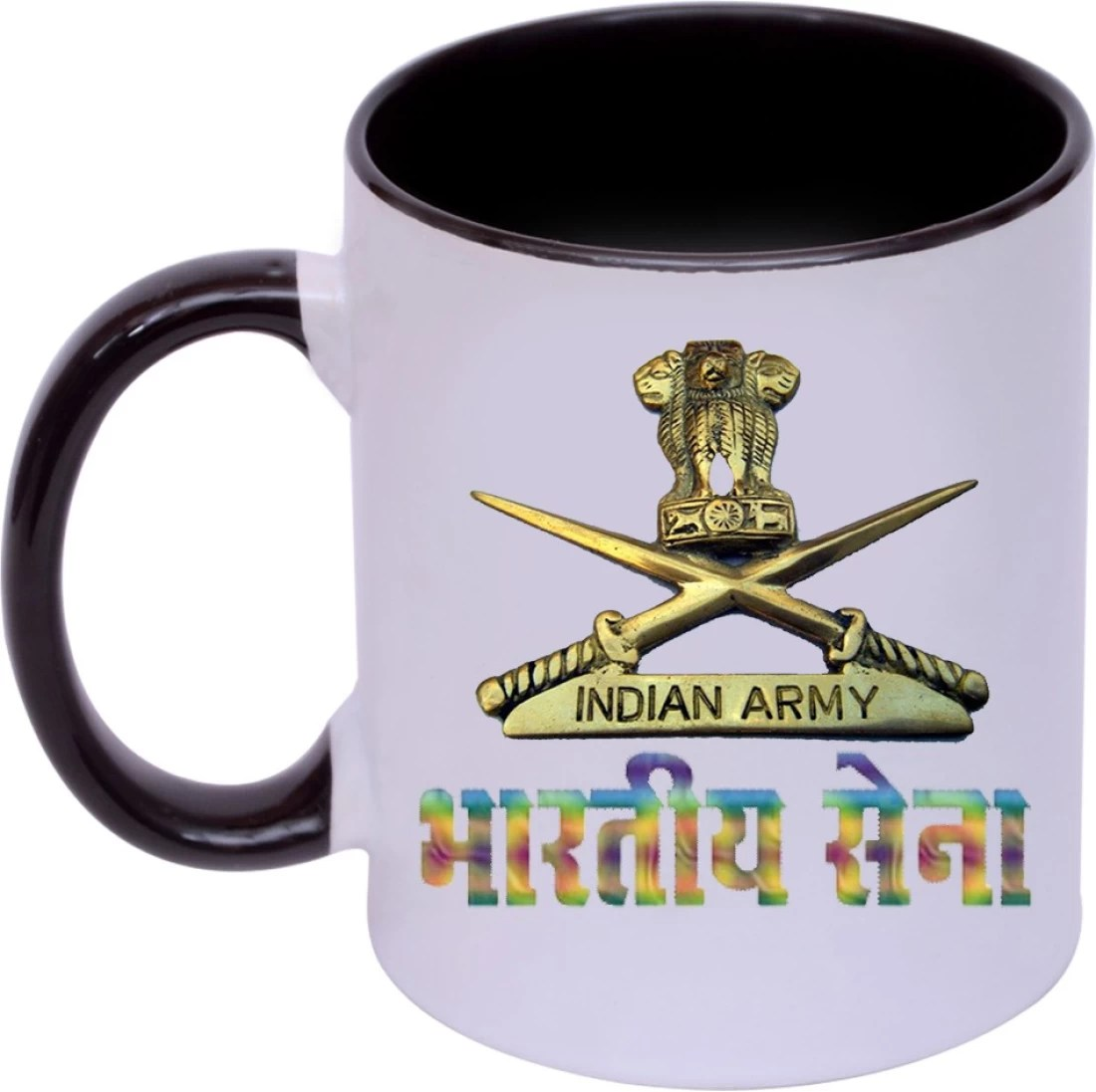 Rjkart Ceramic Indian Army Logo And Sena Printed Coffee For Gift Black And White Ceramic Coffee Mug Price In India Buy Rjkart Ceramic Indian Army Logo And Sena Printed Coffee For