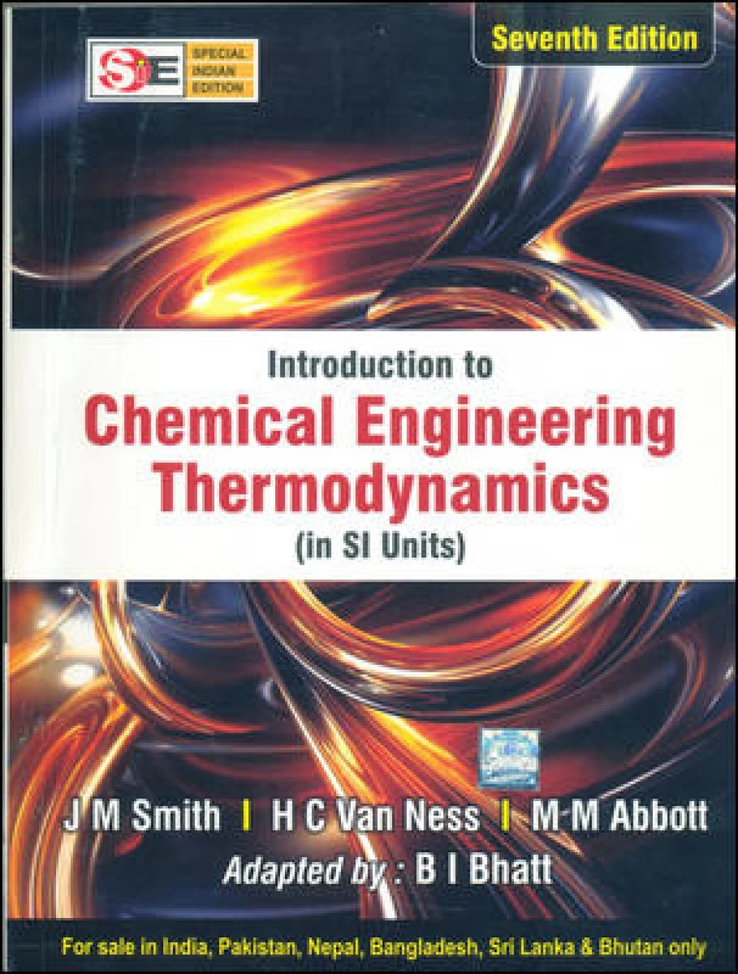 Introduction Chemical Engineering Thermodynamics In Si
