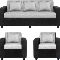 Amazon Sofa Set 5 Seater Leather Repair Kit Bharat Lifestyle Tulip Fabric 3 43 1 Black