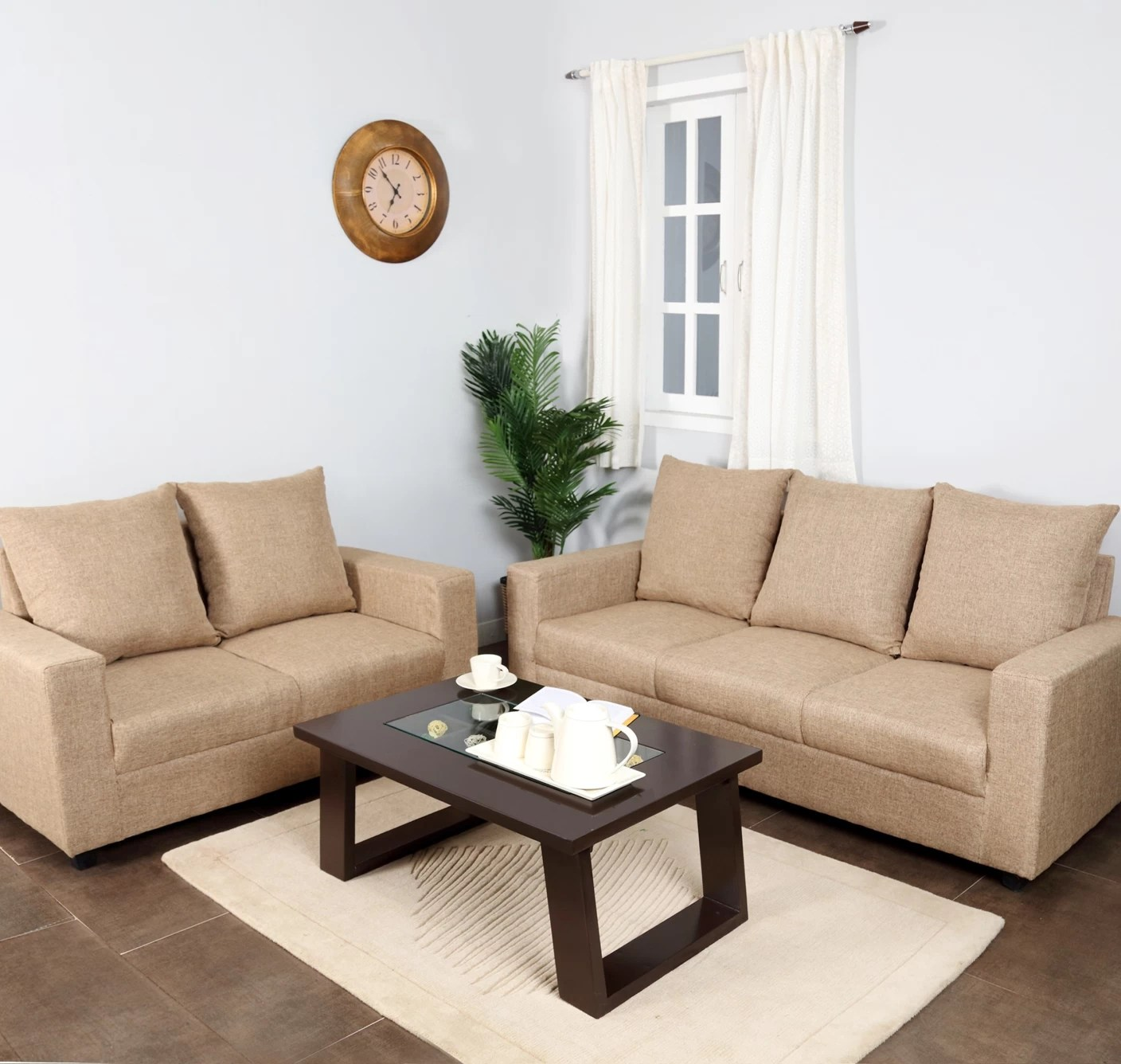 stanley sofa cost india sack 6 ft furnicity fabric 3 43 2 beige set price in buy
