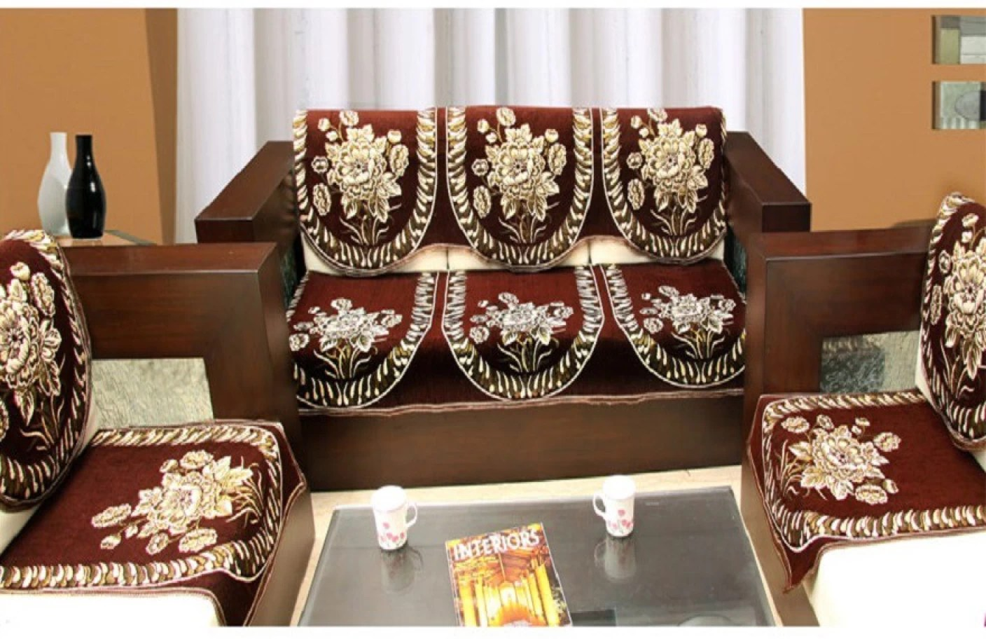 dining chair covers set of 6 india dark teal sashes zesture jacquard sofa cover price in buy