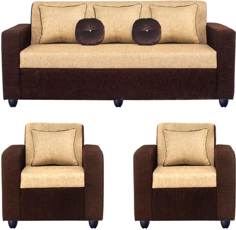 Bharat Lifestyle Fabric 3 + 1 + 1 Cream Sofa Set Price in ...