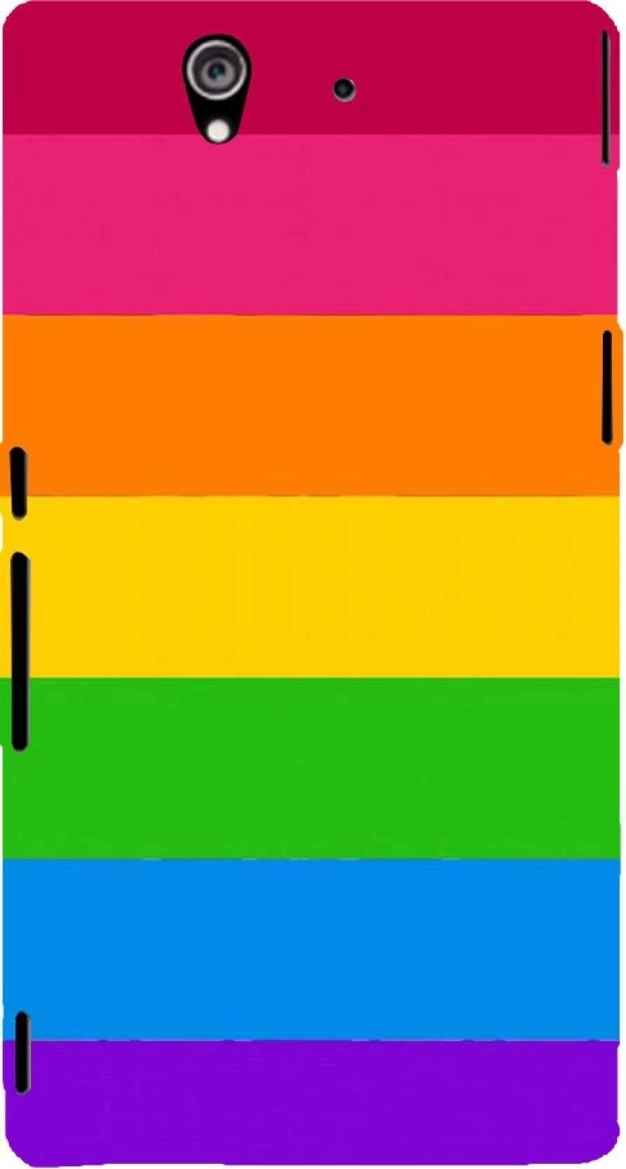 hight resolution of printvisa back cover for sony xperia z rainbow color block pattern plastic
