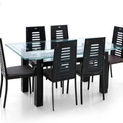 Steel Chair Flipkart Leather Wing India Royaloak County Glass 6 Seater Dining Set Price In