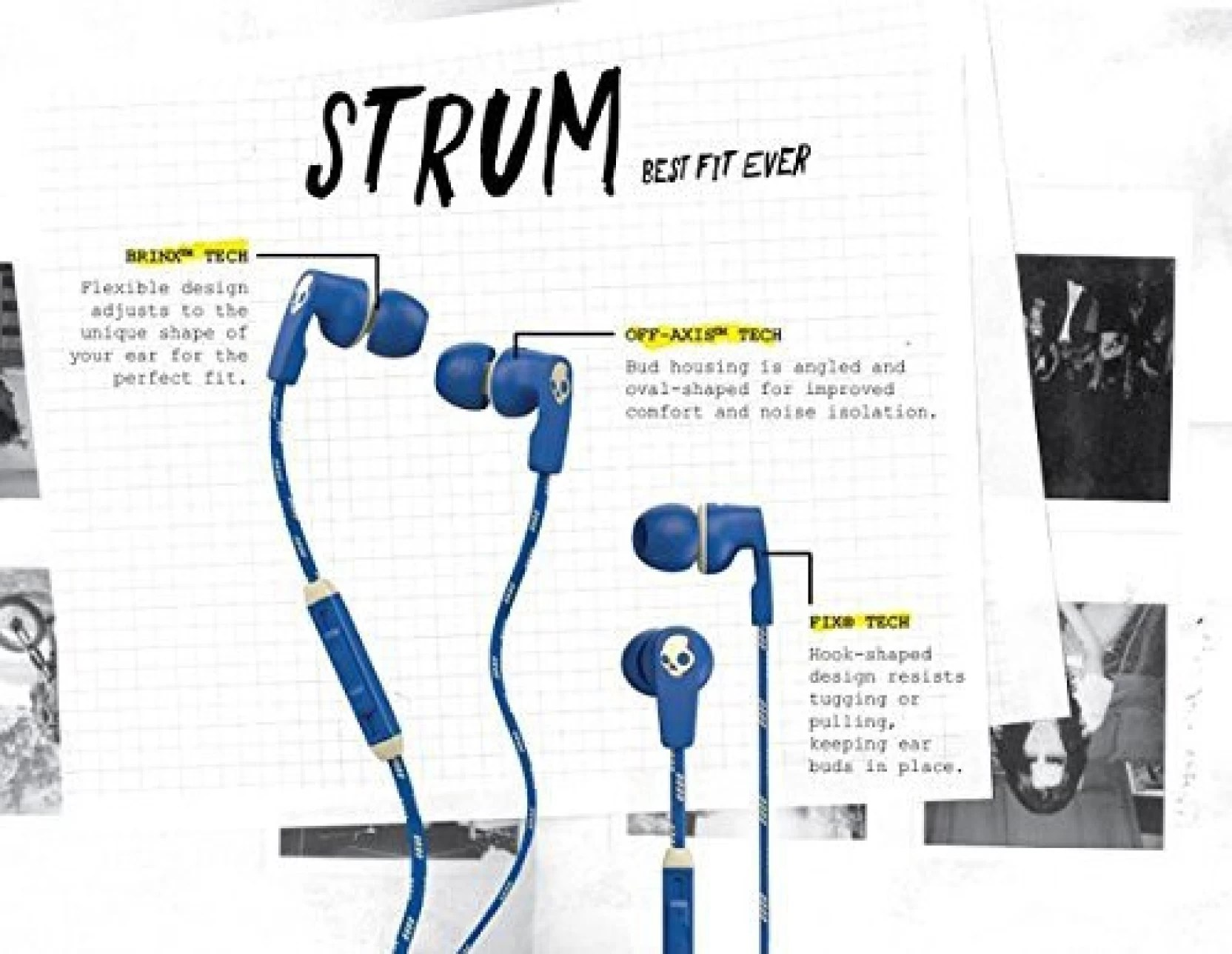 hight resolution of skullcandy strum best fit ever earbud s2suhx 459 wired headset with mic blue in the ear