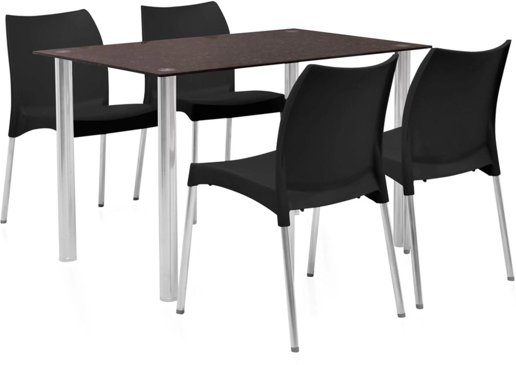 steel chair flipkart striped wingback home by nilkamal napoli glass 4 seater dining set price