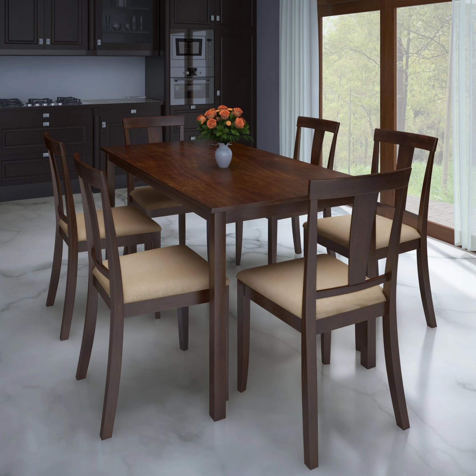 dining chair covers set of 6 india lawn chairs webbed aluminum folding perfect homes by flipkart fraser seater price