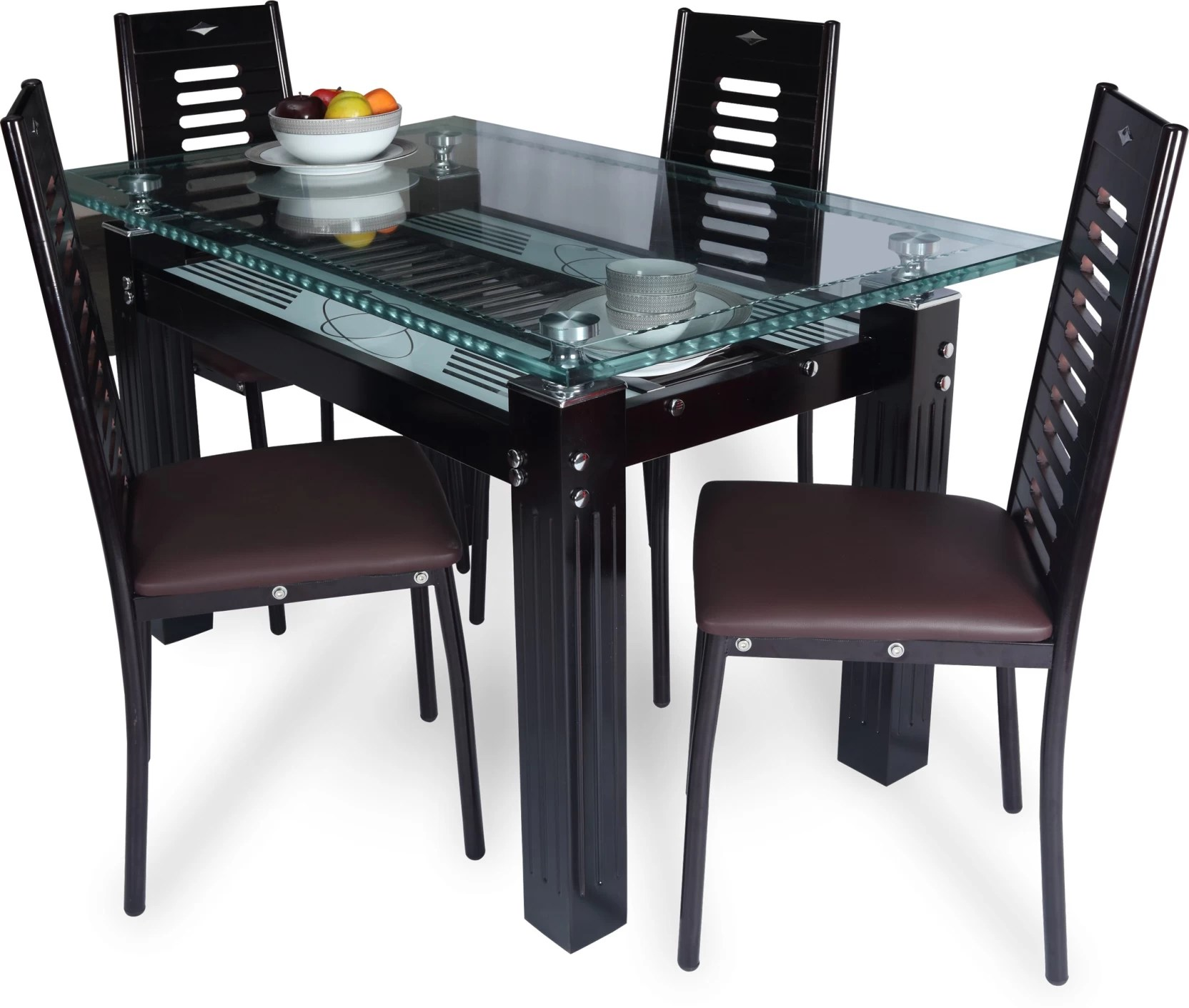 steel chair flipkart toddler soft royaloak county glass 4 seater dining set price in india