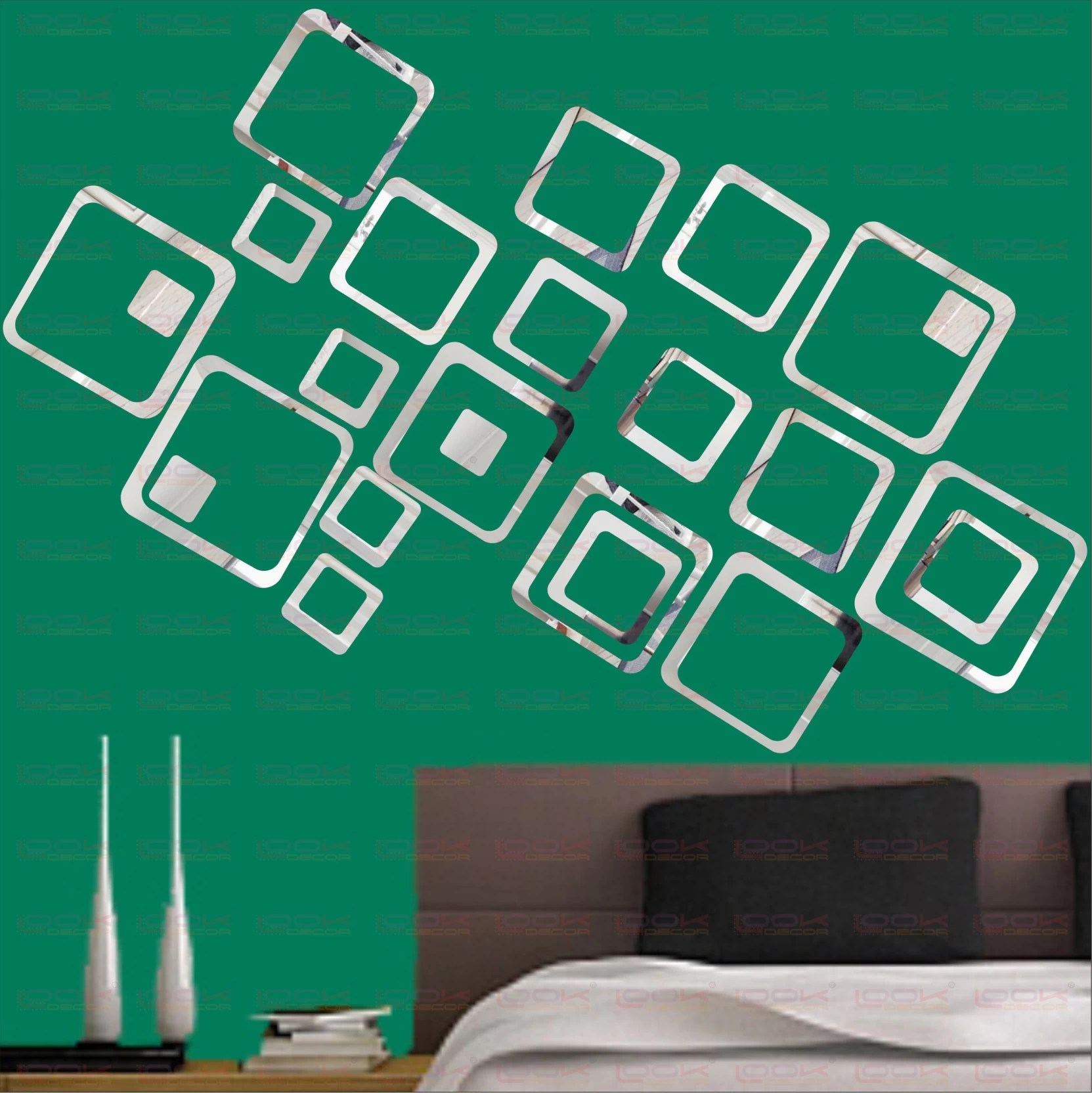 Look Decor Extra Large 18 Square Silver Pack Of 18 Acrylic