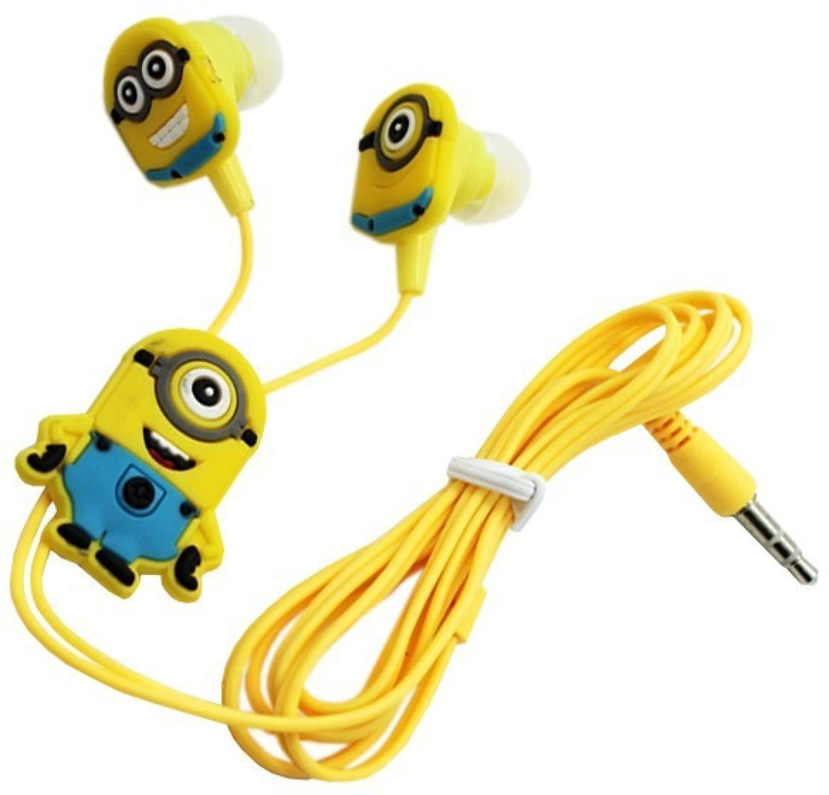 justchhapo minions cartoon in ear wired 3 5 mm earphone for mp3 mp4 mobile phone with earplug cover wired headset with mic yellow in the ear  [ 1664 x 1596 Pixel ]