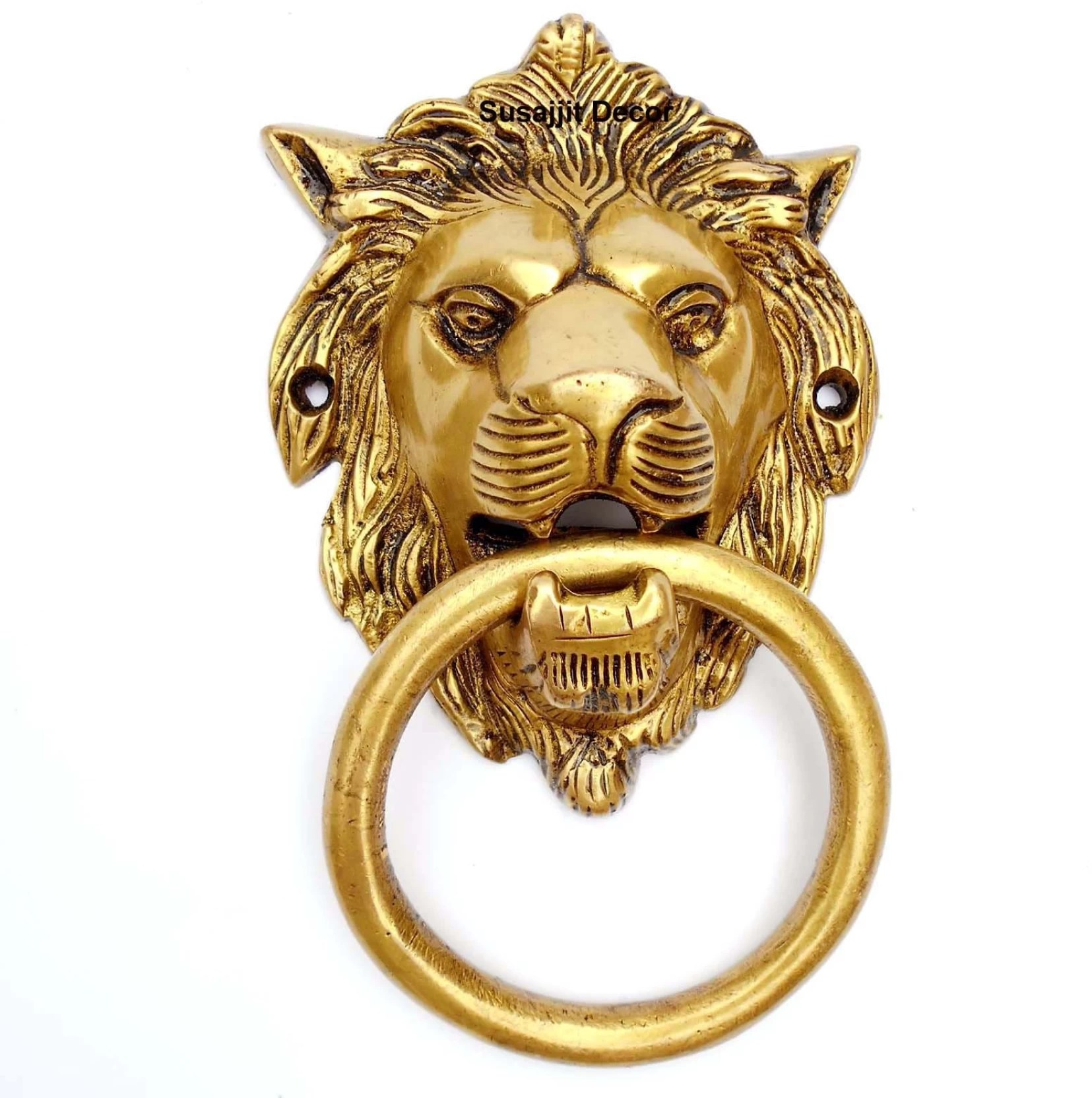 medium resolution of susajjit decor brass door knocker lion face in antique yellow finish for your door brass door knocker antique brass