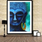 Blue Color Printed Buddha Wall Decor Poster For Living Room