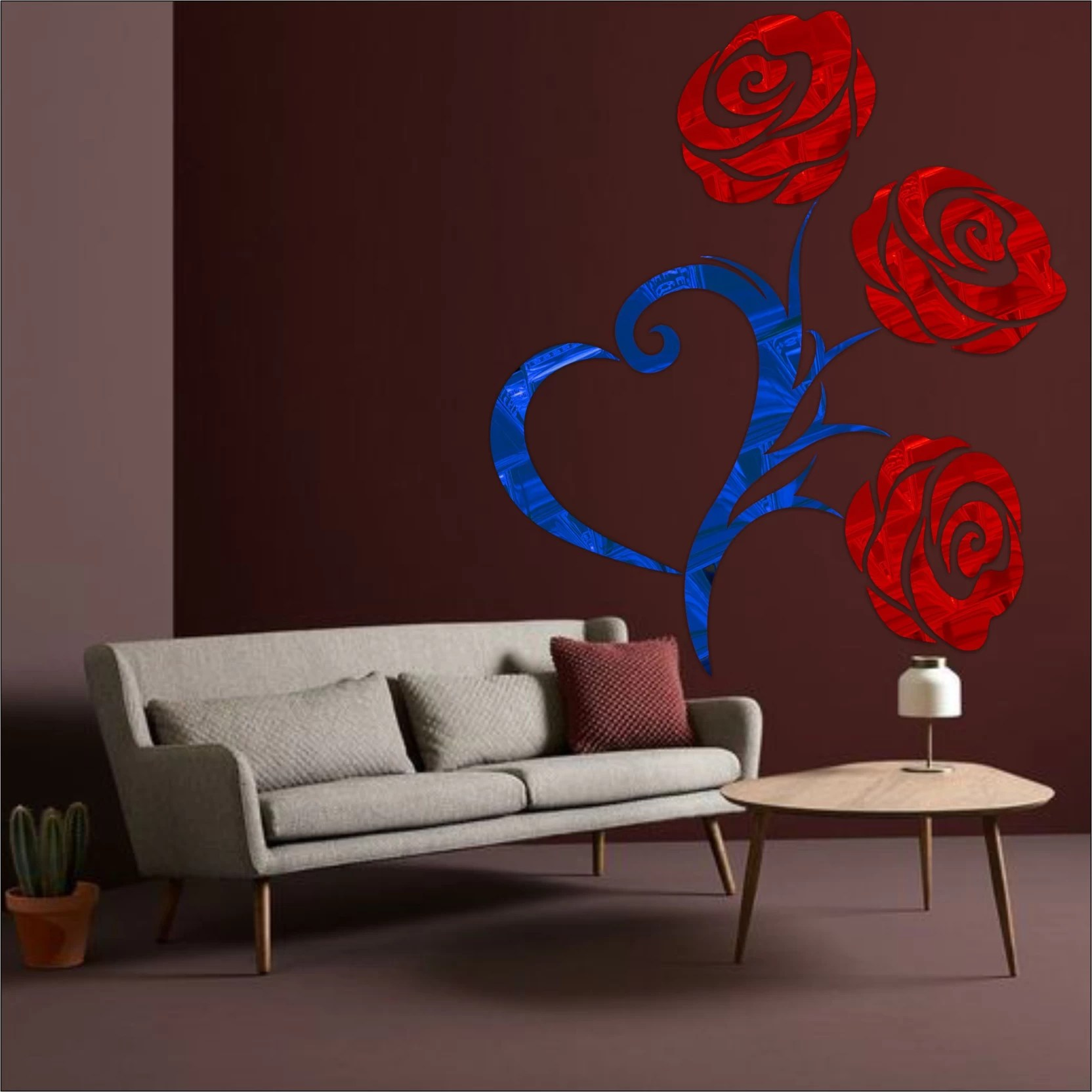 Look Decor Extra Large Heart Rose Code16acrylic Sticker 3d