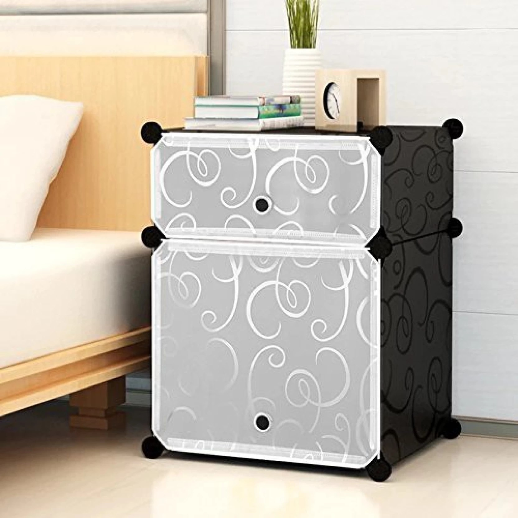 House Of Quirk Portable Bedside Table Cube Storage Organizer