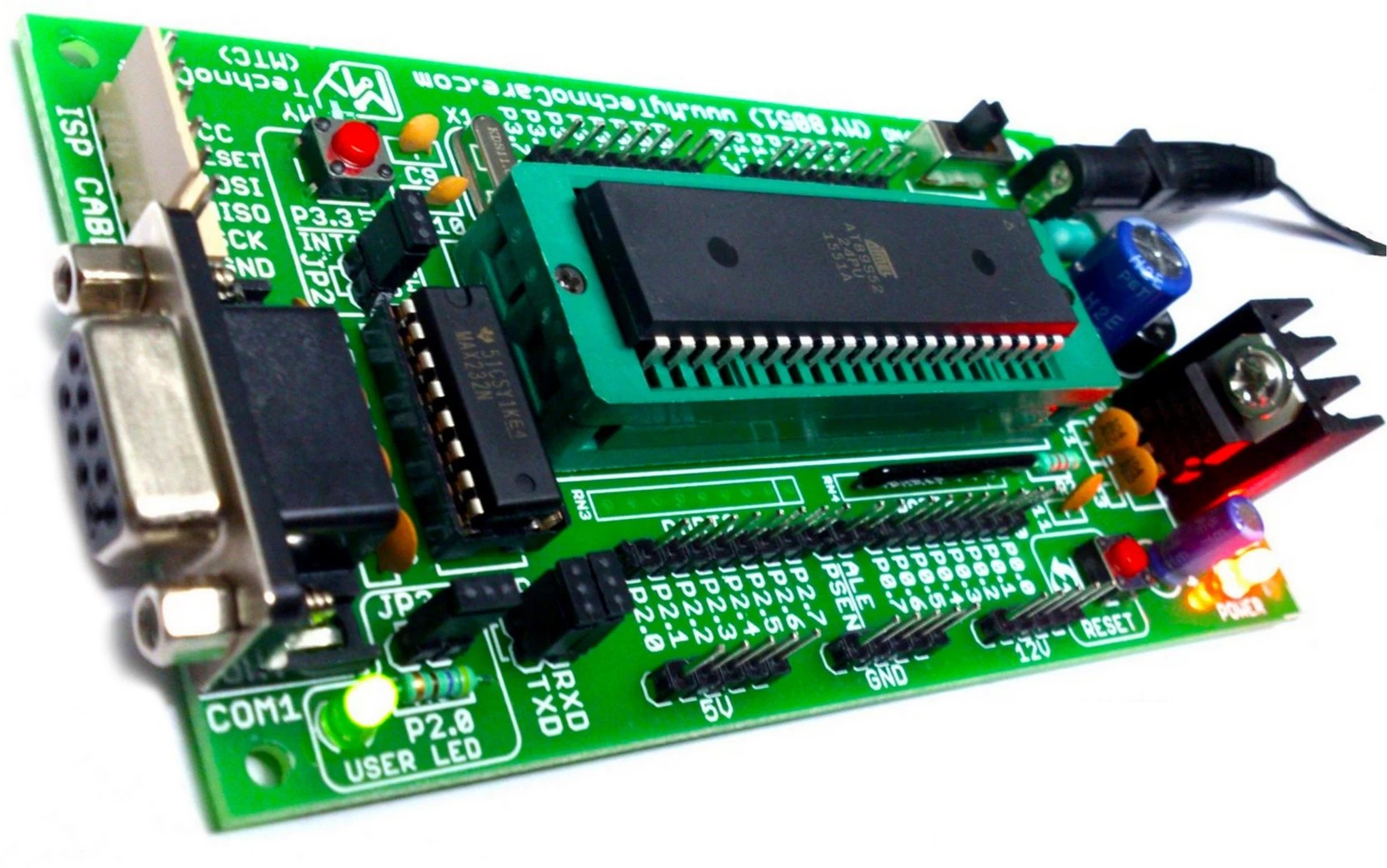 my technocare 8051 development board zif socket max232 at89s52 microcontroller ic project evaluation kit support atmel at89s51 xx 89cxx 89v51rd2  [ 1664 x 1042 Pixel ]