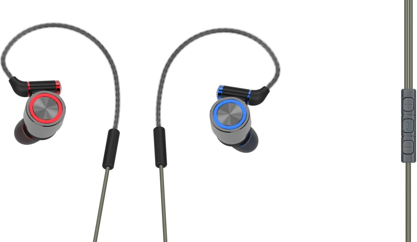 skywater selfie earphone grey colour wired headset with mic grey in the ear  [ 1664 x 967 Pixel ]