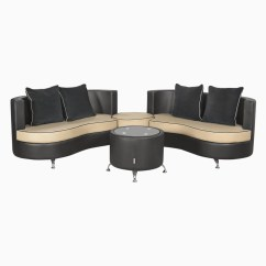 Curved Sofa Set India Klik Klak With Storage Godrej Interio Athena Plus In S1n Lth Blackb Leatherette 2