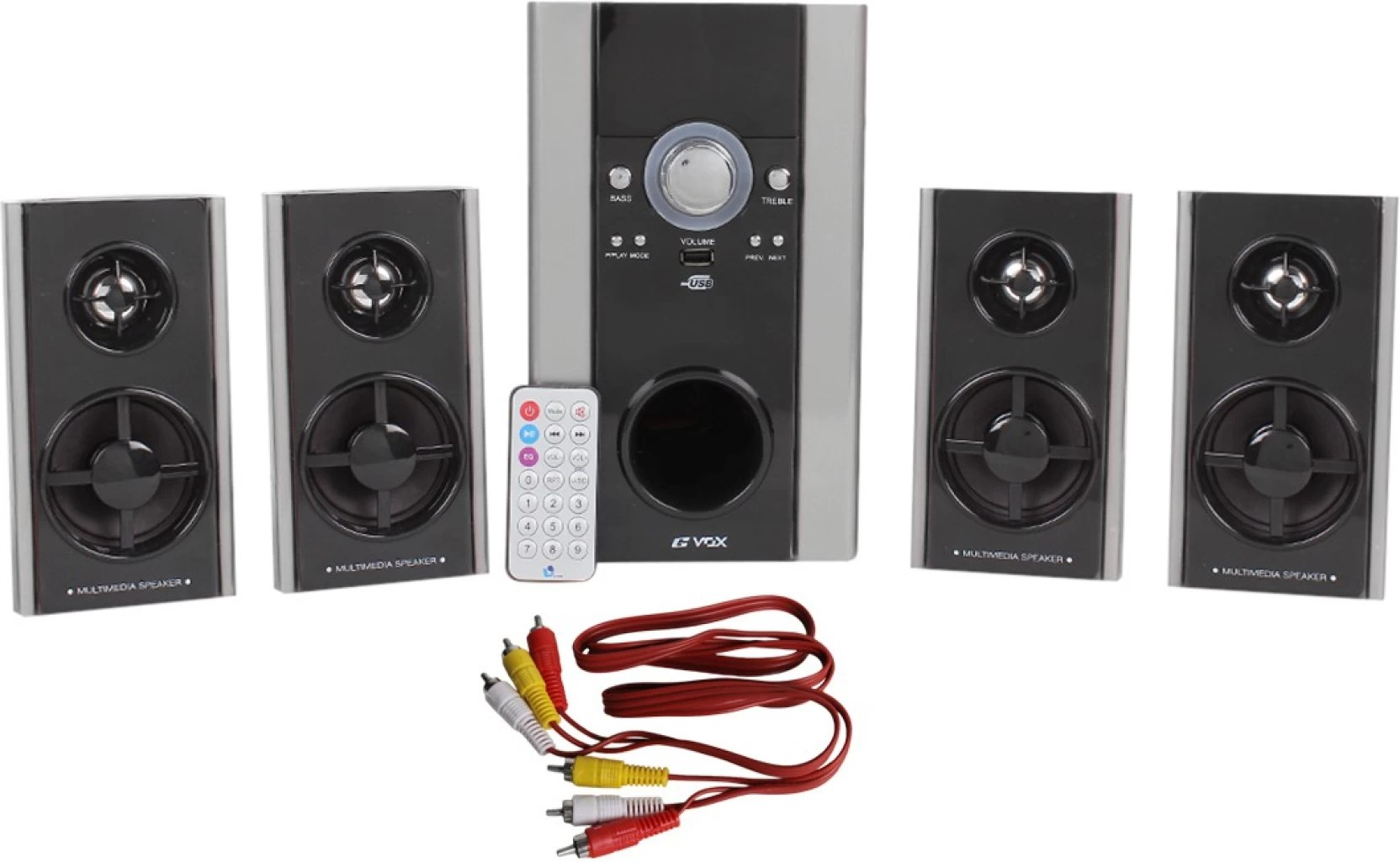 small resolution of gvox 4 1 home theater with usb fm home audio speaker black grey 4 1 channel