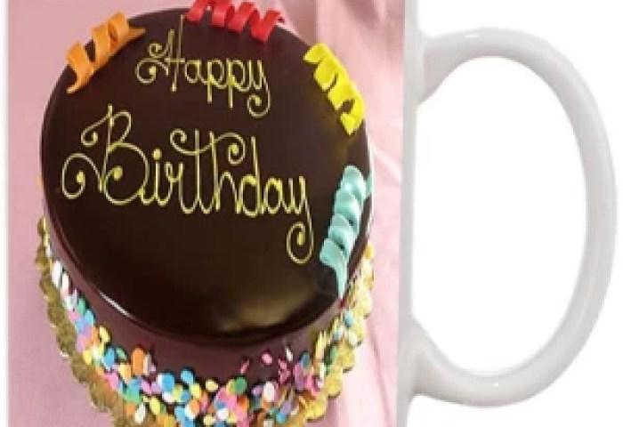 Jmdprints Personalized Happy Birthday Cake Printed White Ceramic