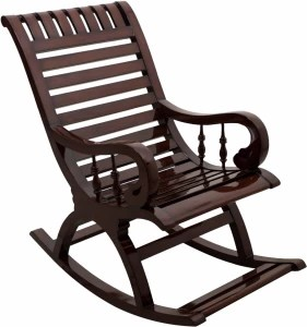 rocking chair with footstool india leather revolving price chairs in compare list dzyn furnitures solid wood 1 seater finish color brown