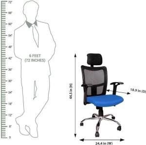 revolving chair mechanism kai kristiansen chairs rajpura brio high back with headrest and push in blue fabric blac black best price india