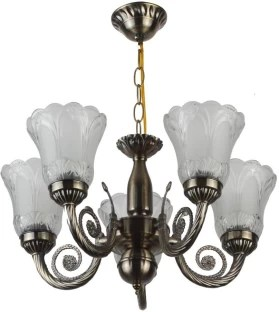 Learc Antique Brass Finish Chandelier Ceiling Lamp