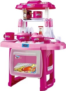 kids kitchen toys cabinets santa ana ca toy arena luxury battery operated set for 32 pcs webby children large cooking simulation model play pink