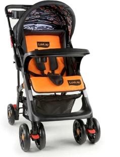 LuvLap Sports Stroller - Black & Orange ( For babies upto 25kgs)