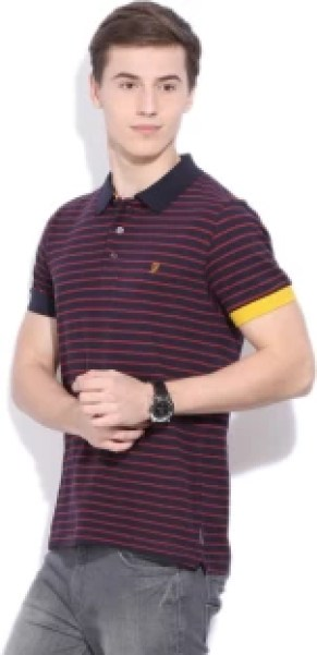 French Connection Striped Men's Polo Neck Dark Blue T-Shirt