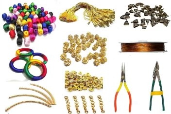 Goelx Silk Thread Necklace Making Kit Combo Of Silk Wrapped Multicolored Beads Rings Bails Tools Dori Much More To Craft Design Silk Thread Necklace Making Kit