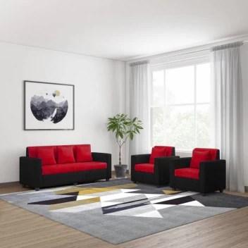 bharat lifestyle tulip fabric 3 1 1 red black sofa set