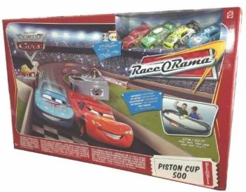 disney pixar cars movie toy exclusive piston cup 500 track playset with 4 die cast cars mcqueen chick king and leakless