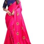 Kuvarbafashion Embroidered Fashion Poly Silk Saree(Pink)
