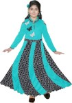 KAARIGARI Girls Maxi/Full Length Party Dress(Light Green, Full Sleeve)