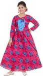 KAARIGARI Girls Maxi/Full Length Party Dress(Pink, Full Sleeve)