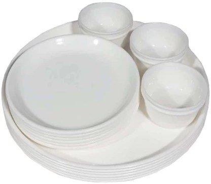 decornt pack of 18 plastic microwave safe unbreakable food grade round virgin plastic 12 inches full dinner 6 plates 7 inches quarter 6 plates and