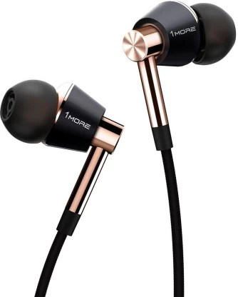 1More Triple Driver Earphones High-Resolution Certified With MIC And Volume Rockers Wired Headset with Mic