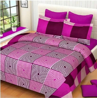 double bedsheet with 2 pillow covers 144 tc cotton double 3d printed bedsheet
