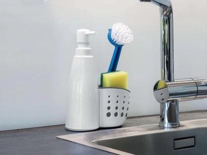 mantavya kitchen sink organizer for dishwasher organizer multifunctional sink detergent soap dispenser sink sponge holder