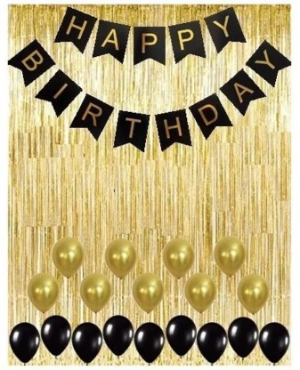 theme my party gold metallic foil fringe shiny curtains happy birthday banner with latex