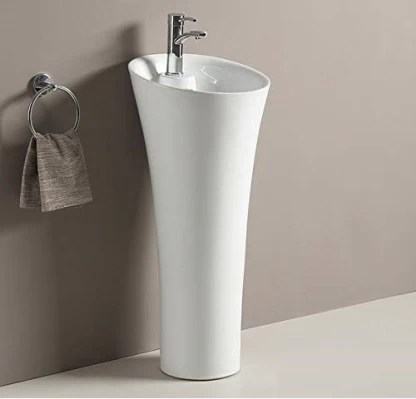 ceramic one piece pedestal wash basin