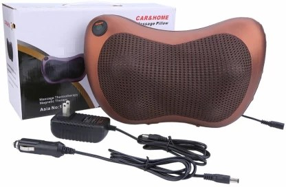 techtest massage pillow electric charging relax neck back leg with soft heat car home use massager brown massager brown ar electronic massage