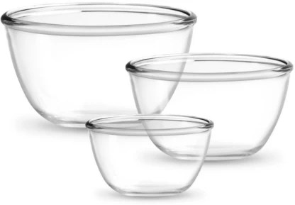 treo microwave oven safe borosilicate glass mixing bowl 3 pcs set 500 ml to 1500 ml borosilicate glass mixing bowl