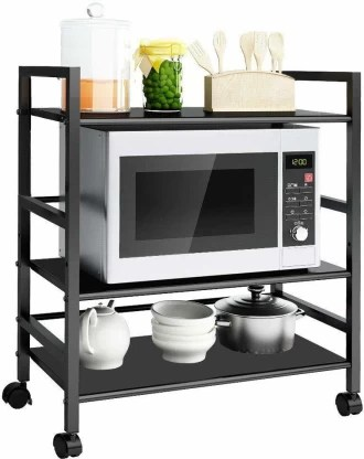 impulse premium 3 shelf microwave oven trolley stand storage trolly rack storage rack shelf for home office kitchen black iron kitchen trolley