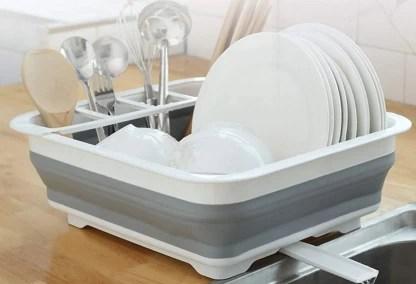 kitchenfest foldable collapsible dish drainer drying rack utensil dinnerware organizer strainer basket kitchen drainer tub basin for kitchen large